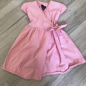 Ralph Lauren Gingham Pink Wrap Dress SZ 2T